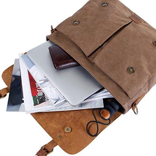 Lifewit Herren Vintage Umhängetasche 14 Zoll Laptoptasche